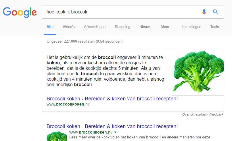 Google Aanbevolen fragmenten