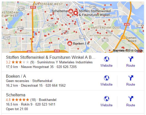 Google 3-pack lokale zoekresultaten